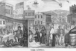 Satirical cartoon blaming the Democratic Party for the Panic of 1837 and subsequent depression, c. 1837.
