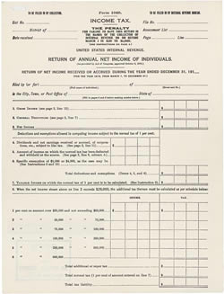 The 1913 version of the Form 1040.