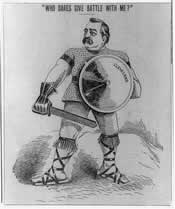 Cartoon depicting Grover Cleveland as a gladiator, challenging all comers in his battles over tariff and silver.