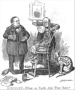 Cartoon parodying Republican tariff policy, c. 1897