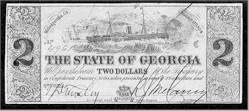 A $2 note issued by the state of Georgia.