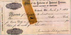 Receipt for Civil War excise tax on a Jersey wagon, 1863.
